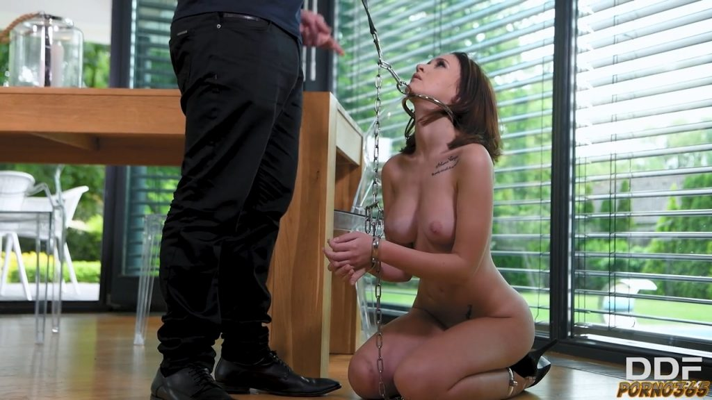 Sex slave in chain ready to be fucked