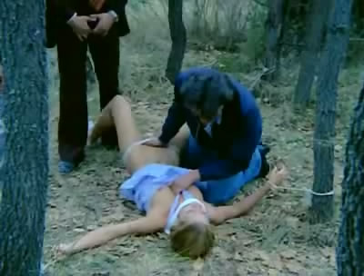 beautiful woman rape in a forest by three men