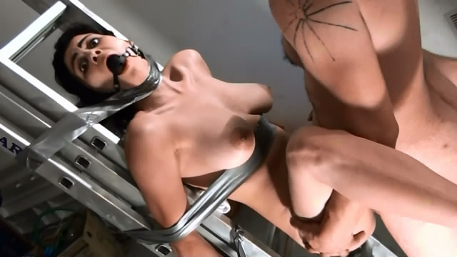 brutal rape on a ladder of a busty woman